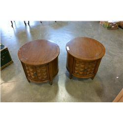 PAIR OF ROUND WALNUT ENDTABLES