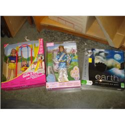 TWO NEW BARBIES AND EARTH GAME