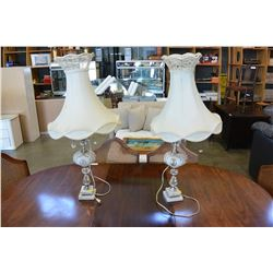 PAIR OF GLASS AND MARBLE TABLE LAMPS