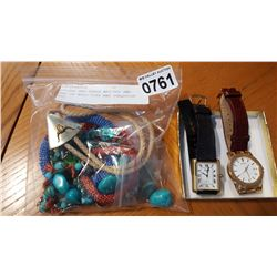 PULSAR AND GUESS WATCHES AND BAG OF BOLO TIES AND TURQUOISE ETC