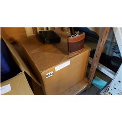 BOX OF NEW LEATHER WET BAR FLASKS, APPROX 30