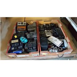 TWO TRAYS OF CAMERAS AND POLAROID