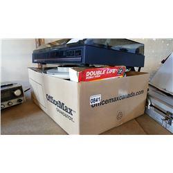 BOX OF ELECTRONICS AND NIKKON TURNTABLE