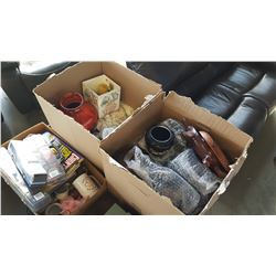 3 BOXES OF ESTATE GOODS AND VASES