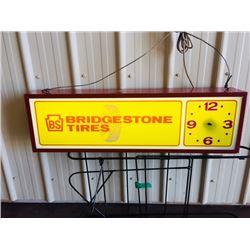 1960s BRIDGESTONE TIRES BS SIGN AND CLOCK