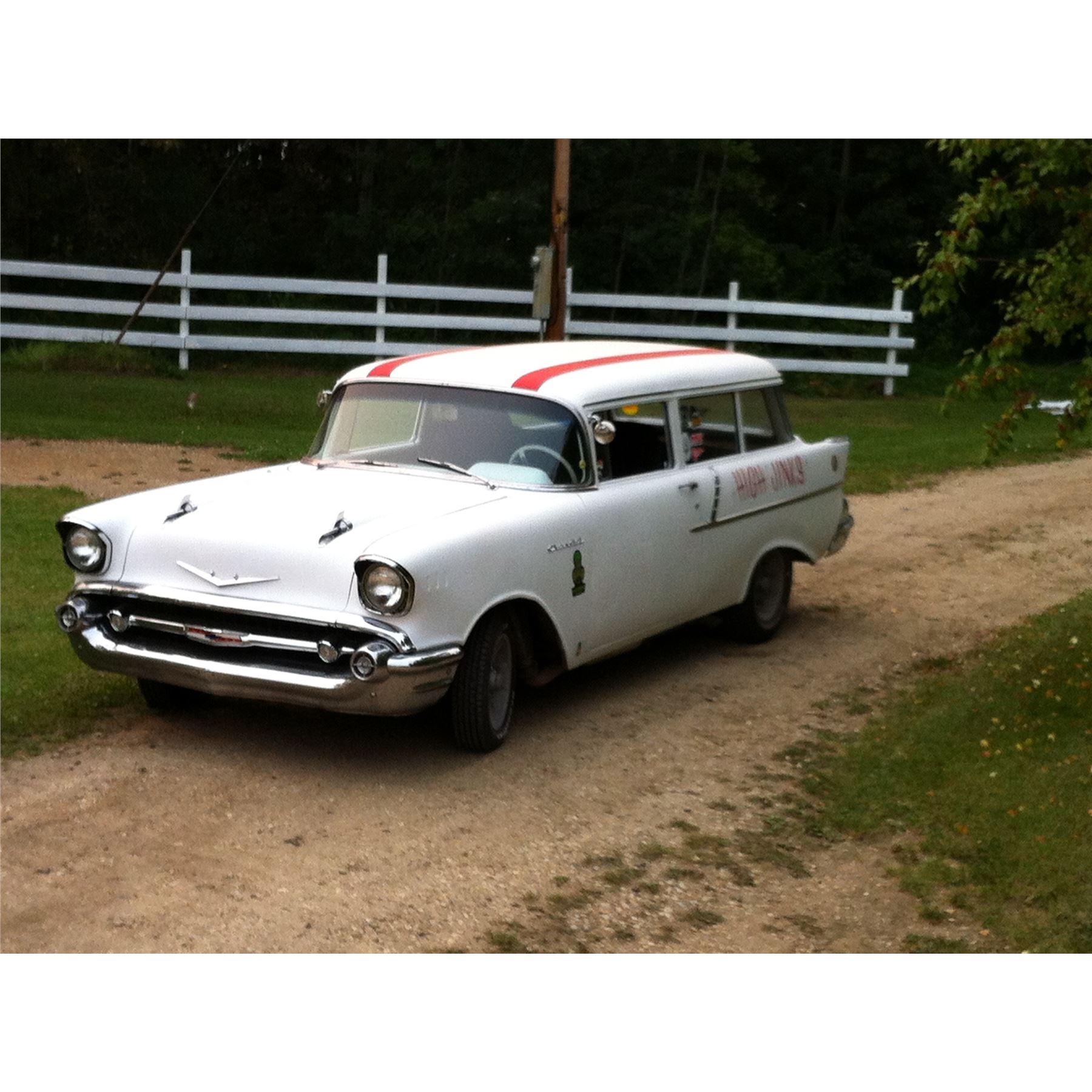 1957 CHEVROLET 150 WAGON VINTAGE QUARTER MILE RACE CAR BIG BLOCK 396 CID V8  RECENT FRAME ON RESTO