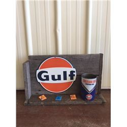 GULF OIL CAN WITH SHELF