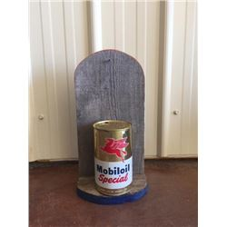 MOBIL OIL SPECIAL CAN WITH WOODEN SHELF