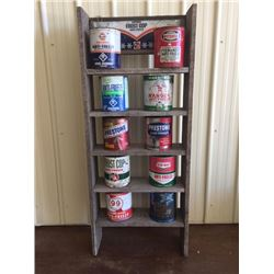 HAND MADE WOODEN FROST COP ANTI FREEZE STORAGE SHELF INCLUDING VINTAGE CANS
