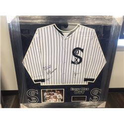 AUTOGRAPHED BASEBALL JERSEY FEATURING THE CAST OF 8 MEN OUT INCLUDING CHARLIE SHEEN, DB SWEENEY, BIL