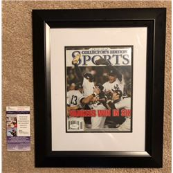AUTOGRAPHED DEREK JETER COLLECTORS EDITION WORLD SERIES MAGAZINE. COA STICKER AND MATCHING CARD.