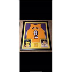 RARE BEAUTIFULLY FRAMED AUTOGRAPHED KOBE BRYANT NUMBER 8 JERSEY. CERTIFICATE OF AUTHENTICATION STICK