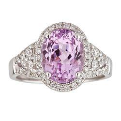 4.17 ctw Kunzite and Diamond Ring - 14KT White Gold