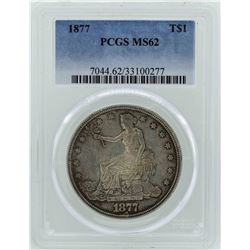 1877 $1 Seated Liberty Silver Trade Dollar Coin PCGS MS62