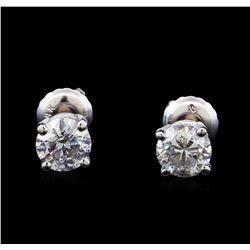 1.20 ctw Diamond Stud Earrings - 14KT White Gold