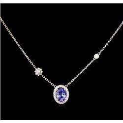 1.25 ctw Tanzanite and Diamond Necklace - 14KT White Gold