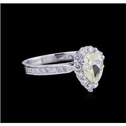 1.45 ctw Fancy Light Yellow Diamond Ring - 14KT White Gold