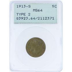 1913-S Type 2 Buffalo Nickel Coin PCGS MS64