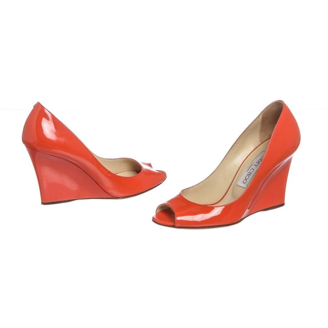 bf6551364f4 Jimmy Choo Orange Patent Leather Open Toe Wedges 35