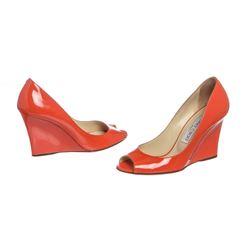 Jimmy Choo Orange Patent Leather Open Toe Wedges 35