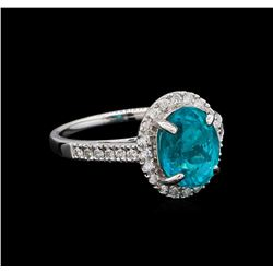 3.23 ctw Apatite and Diamond Ring - 14KT White Gold