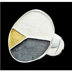 Tri Color Hand Painted Medallion Ring - Rhodium Plated