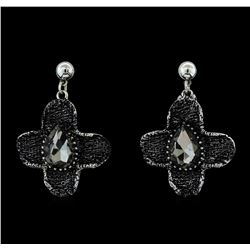 Metallic Crystal Earrings - Silver Plated