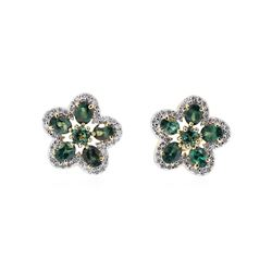 2.55 ctw Alexandrite and Diamond Earrings - 14KT Yellow Gold