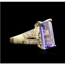 4.95 ctw Tanzanite and Diamond Ring - 14KT Yellow Gold