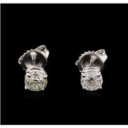 1.15 ctw Diamond Solitaire Earrings - 14KT White Gold