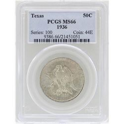 1936 Texas Commemorative Half Dollar Coin PCGS MS66