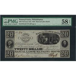 1836 $20 Manual Labor Bank Obsolete Note PMG Choice About Uncirculated 58EPQ