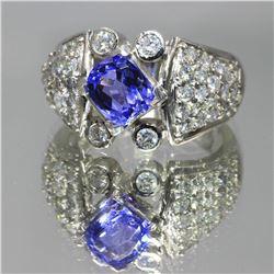 2.50 ctw Tanzanite and Diamond Ring - 14KT White Gold