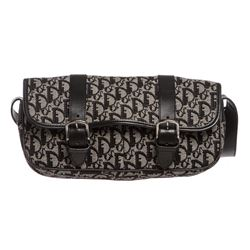 Christian Dior Black Gray Diorissimo Canvas Leather Bag