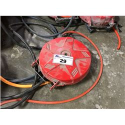 SMALL RED AUTO RETRACTING AIR HOSE REEL