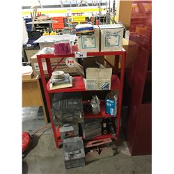 METAL SHELF WITH ASSORTED STORAGE BOXES AND MISC