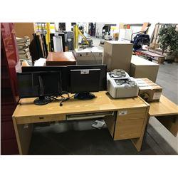 4 LCD MONITORS, 2 HP PRINTERS AND TONER