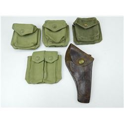ASSORTED MILITARY POUCHES & HOLSTER