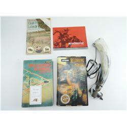 ASSORTED FIREARMS BOOKS & POWDER HORN