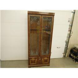 WOOD AND GLASS DOOR STORAGE CABINET