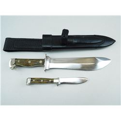 DOUBLE FIXED BLADE KNIFE SET, WITH LEATHER SHEATH
