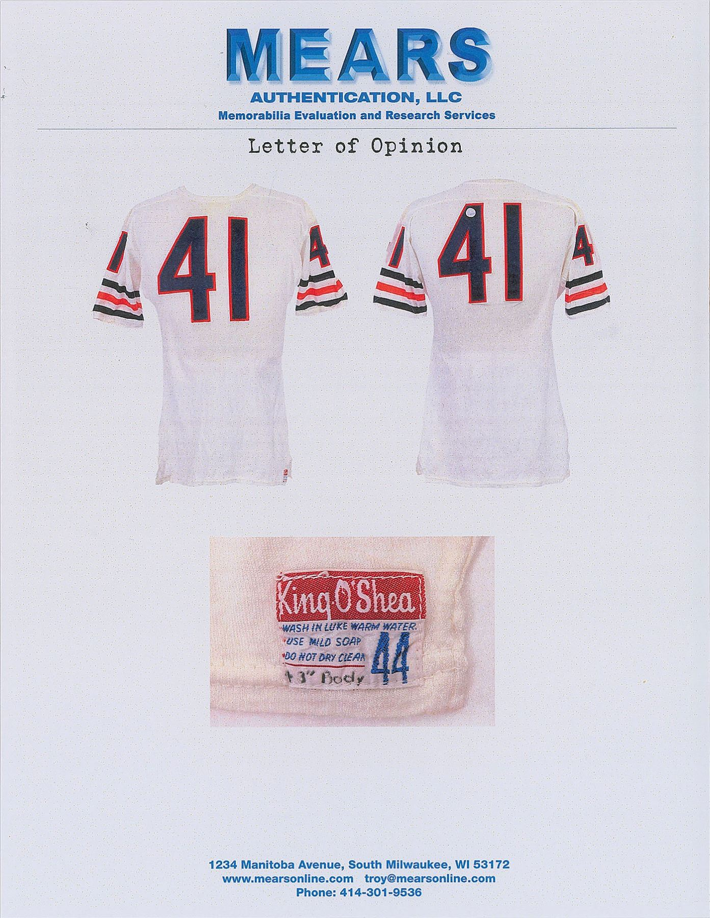 best website 83132 03eaf 1966–1968 Brian Piccolo Game-Worn Chicago Bears Road Jersey ...