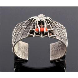 Navajo Sterling Silver Spider Web Coral Cuff