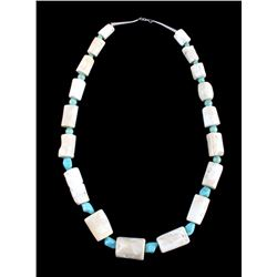 Navajo Turquoise White Coral Nugget Necklace