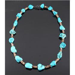 Navajo Turquoise Nugget Heishi Bead Neacklace