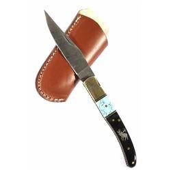 Damascus Buffalo Horn Handle Knife w/ Ornate Inlay