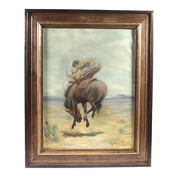 Williams Gollings Bucking Bronco Painting c. 1923