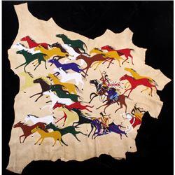 Blackfeet Pony Raid Fully Beaded Hide EXCELLENT