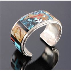 Zuni Sterling Silver Inlaid Mosaic Cuff Signed