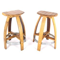 Western Whiskey Barrel Stave Bar Stools